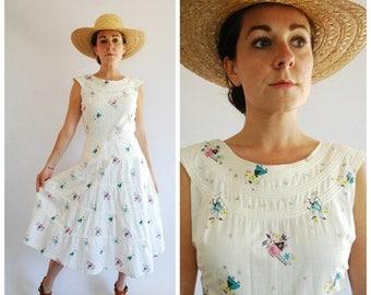 SALE 25% Off 1950's Dress - 50's Novelty Print Dress - 50's Cotton Dress - Size Large