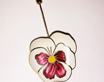 Enamel Pansy Flower Pin - lapel stick brooch vintage floral
