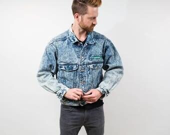 1980's Acid Wash BlueJean Jacket by Code Bleu / Spring Fall Outdoor Coat