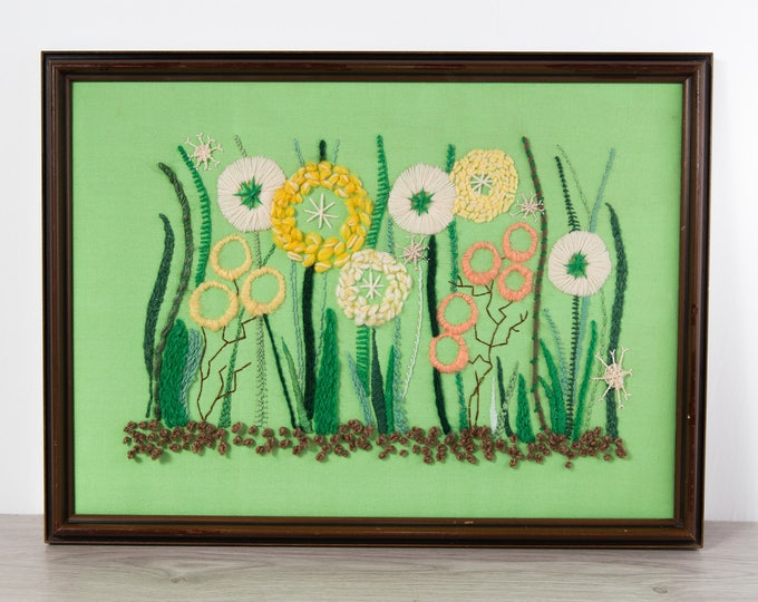 Vintage Cross Stitch Artwork / Framed Embroidered Mid Century Modern Floral Fabric Art Tapestry / Abstract Flower Scene Scandinavian Design