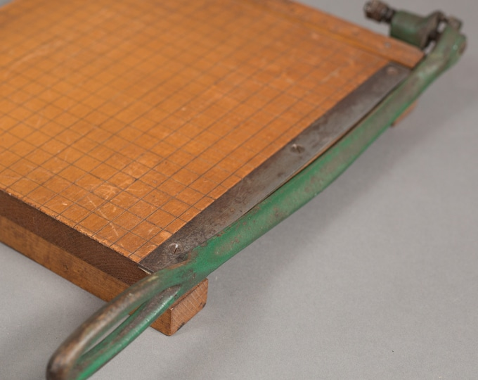 Vintage Wood  Trimming Board - Sears Roebuck and Co. Paper Cutter - Cast Iron and Solid Wood Paper Slicer for Office, Classroom, Craft Room