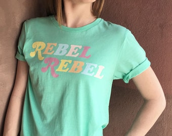 Pastel Rebel Tee / 70s t shirt / womens graphic tees / bowie shirt