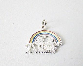 "Vintage Sterling Silver 925 ""Follow Your Dreams"" Rainbow Pendant"