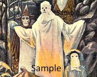 Halloween Ghost and Friends  Digital Vintage Card Image Cardmaking Scrapbooking Download Printable Art