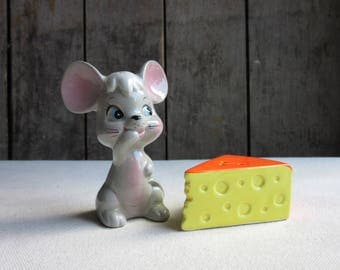 Vintage Mouse and Cheese Salt & Pepper Shakers, Enesco Mouse Cheese Salt Pepper, Cute,Whimsical Animal,Kitsch,Kitschy,Retro Salt Pepper,Mice