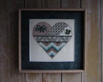 Vintage Framed Needlepoint Irish Heart, Love, Handmade Irish Gift, Family,Needlepoint Wall Hanging Irish Decor,Ireland Lovers,Fiber Wall Art