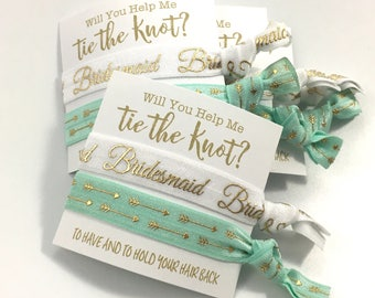 Bridesmaid Gift // MOH Gift // Flower Girl - Bridesmaid Card - Will You Be My Bridesmaid - Thank You For Helping Me Tie The Knot, Hair Ties