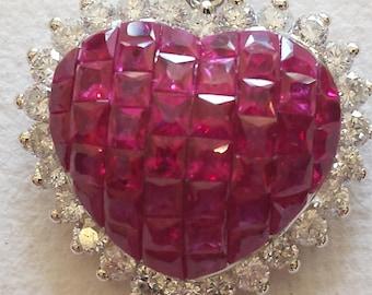 18 K heart ruby and diamond pendant
