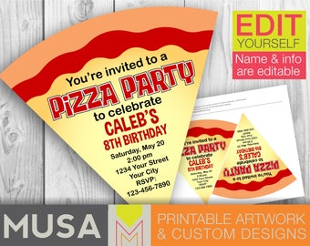Pizza Party invitation / EDITABLE / PRINTABLE