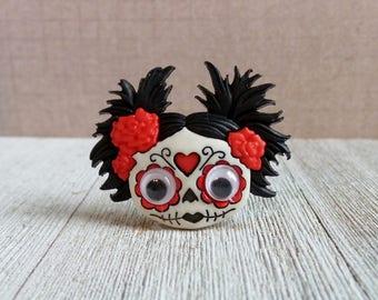 Zombie Girl - Halloween - Skeleton - Sugar Skull - Lapel Pin