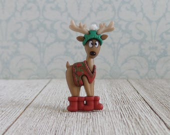 Redneck Reindeer - Winter- Christmas - Santa - Sweater - Hat - Boots - Lapel Pin