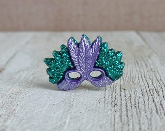 Mardi Gras - Mask - New Orleans - Masquerade - Celebrate - Lapel Pin