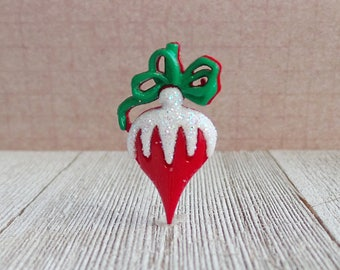 Ornament - Christmas Tree Ornament - Vintage Bulb - Red and Green - Holidays - Decorate - Lapel Pin