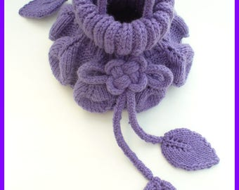 Mini-sac, sac tricoté, aumônière, sac original au tricot, bourse tricotée, sac bourse, sac de soirée, accessoire tricot, sac rond feuilles