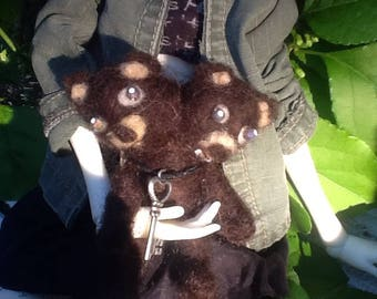 Cute needle felted 2 headed bear
