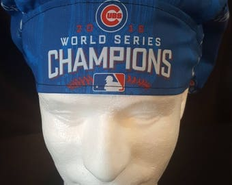 Chicago Cubs Baseball 2016 World Series Champions Bouffant Surgical Scrub Hat With Banded Front & Toggled Back