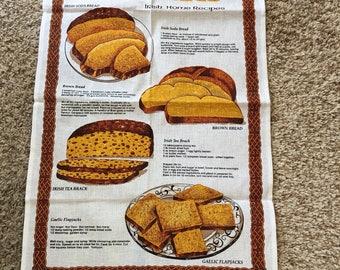 Irish Linen Dish Towel With Irish Bread & Biscuit Recipes