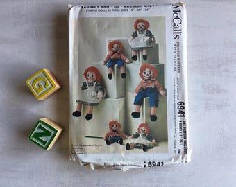 Vintage 1963 Raggedy Ann & Raggedy Andy Stuffed Dolls Sewing Pattern
