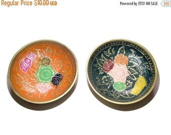 SALE Flowers serving plates,thai hand painted brass plates set