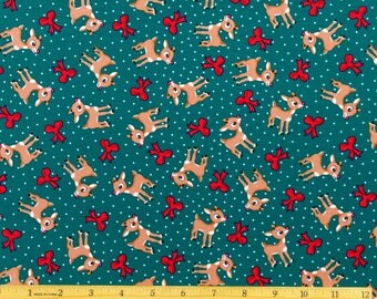 Rudolph the Red Nosed Reindeer Fabric Rudolph and Bows Toss in Green Fabric From Quilting Treasures 100% Cotton