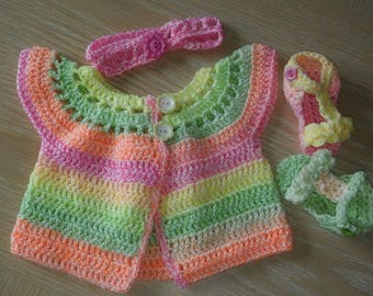 Neon colours cardigan, headband and sandals