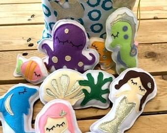 figurines thème sirènes et personnages de la mer,poupées en feutrine, jouets montessori