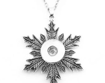 Snowflake necklace for snap button