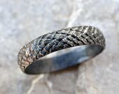 dragon scale ring silver feather ring, medieval wedding band black silver, pagan wedding ring, snake skin ring black silver dragon ring