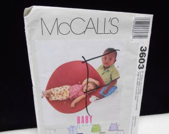 Infant Shirts Tops McCalls 3603 Infants Pants Sizes Small-Extra Large