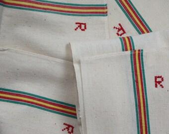 Vintage French Torchon Tea Towels R Monogram Metis Linen Cotton Never Used 4 pcs