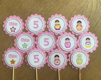 Babushka / Matryoshka / Russian Doll Personalised Cupcake Toppers ~ for Birthdays, Baby Shower, Party