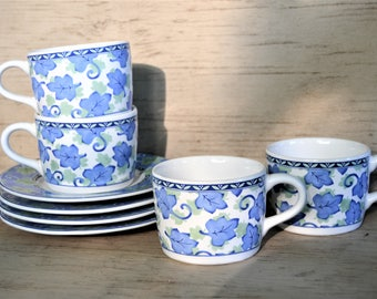 PFALTZGRAFF Cup Saucer Set of Four Blue Leaf Coffee Cups Matching Saucers Blue Isle Pattern