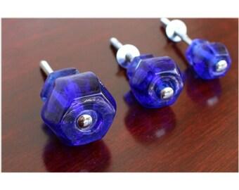 """1.25"""" Cobalt BLUE Glass Cabinet Knobs Pulls Vintage Dresser Drawer Hardware 10 pcs"""