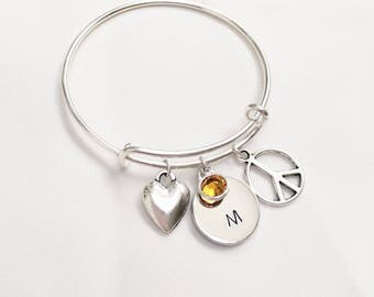 Love & Peace Girl's Adjustable Bangle