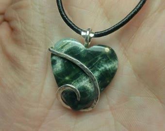 Heart Pendant | Ocean Jasper Pendant | Ocean Jasper Necklace | Sterling Silver Pendant | Simple Stone Pendant | Gift for New Girlfriend