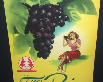 Vintage Italian Perino grapes store sign, pin-up