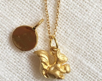 Personalized Jewelry-Vermeil, 18K Gold over 925 sterling silver mini squirrel necklace-  - Add your initial!