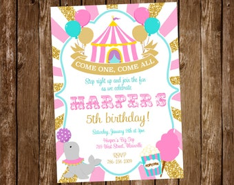 Circus Birthday Invitation, Invite, Carnival, Big Top, Girl, Pink, Gold - Printable or Printed