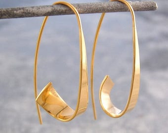 ON SALE NOW Gold Hoop Earrings - Gold Earrings - Gold Drops - Gold Dangly Earrings - Gold Drop Earrings - Hoop Earrings - Drop Hoop Earrings
