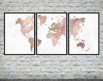 World Map Art, World Map Watercolor, World Map Poster Set, World Map Wall Decor , World Map Poster, World Map Watercolor Art, World Map