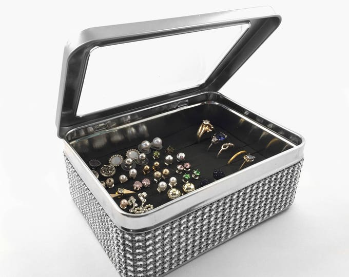 Tin Jewelry Box, Silver Jeweled  Ribbon, Earring Organizer