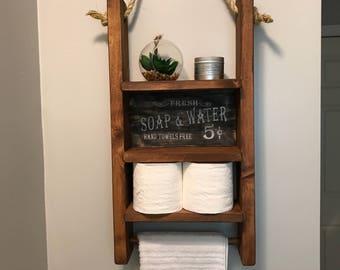 Farmhouse rustic hanging toilet paper holder bathroom decor