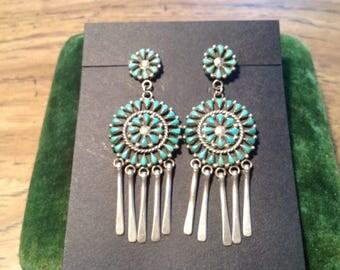Signed Zuni Petit Point Turquoise Pierced Earrings - Vintage