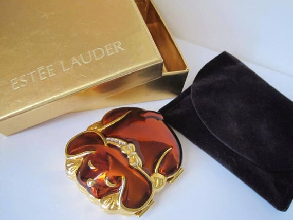 Vintage Estee Lauder Powder Compact Puppy Tales Lucidity Transparent Powder NOS with Estee Lauder Gift Box