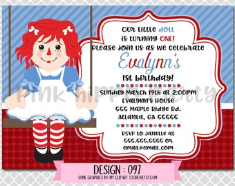 Raggedy Ann Doll:Design #097-Children's Birthday Invitation, Personalized, Digital, Printable, 4x6 or 5x7 JPG