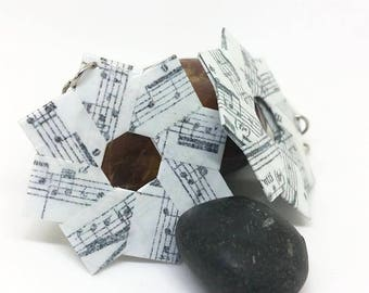 Origami Wreath Earrings - Paper Jewelry - paper Earrings - Origami Jewelry - VonnesHandmadez