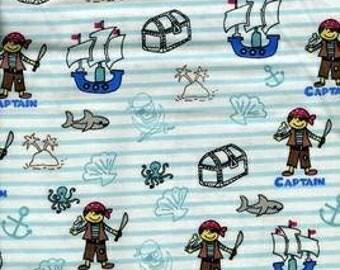 1 Yard Pirate Captain Boy Ocean Baby Cartoon Nautical Flannel