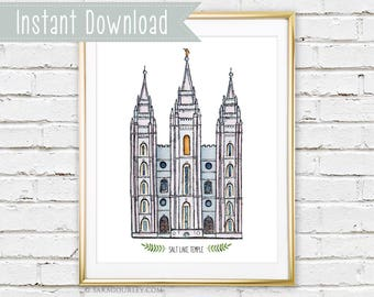 Instant Download Salt Lake Temple Watercolor Art Print, Printable, Painting, Art, Wall Decor, Illustration, LDS Temple, Wedding Gift
