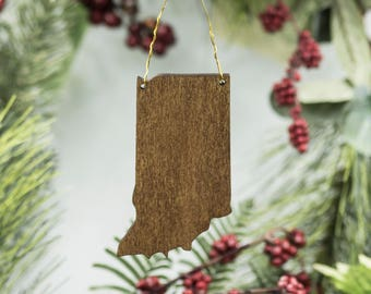 Indiana Christmas Ornament - Wooden Indiana Carved Ornament - Wooden Engraved IN Tree Ornament - Indiana Poplar Ornament