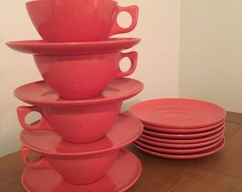 Vintage Red Melmac Melamine Cups and Saucers